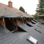 A partially tiled roof